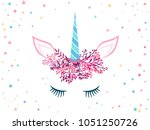 unicorn cute illustration with... | Shutterstock .eps vector #1051250726