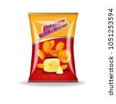 a pack of potato chips on white ...   Shutterstock .eps vector #1051253594