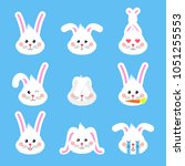 bunny emotions character. cute... | Shutterstock .eps vector #1051255553