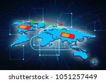 3d render sim network   | Shutterstock . vector #1051257449