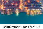 container ship in export and... | Shutterstock . vector #1051265210