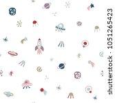 cute seamless cosmic pattern | Shutterstock .eps vector #1051265423