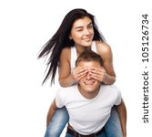 happy young couple in casual...   Shutterstock . vector #105126734