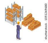 isometric box. cardboard... | Shutterstock .eps vector #1051269680
