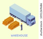 isometric objects. warehouse.... | Shutterstock .eps vector #1051269686