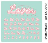 vintage handwritten typeface or ... | Shutterstock .eps vector #1051279040