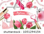 cosmetics and fashion... | Shutterstock .eps vector #1051294154