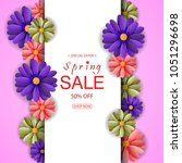 spring sale background with... | Shutterstock . vector #1051296698