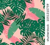 exotic monstera  banana leaf on ... | Shutterstock .eps vector #1051310759