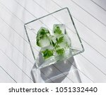 ice cubes with frozen parsley... | Shutterstock . vector #1051332440