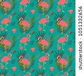 vector hand drawn tropical... | Shutterstock .eps vector #1051332656
