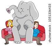 an image of a elephant in room... | Shutterstock .eps vector #1051336433