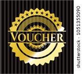 voucher golden emblem or badge | Shutterstock .eps vector #1051355090