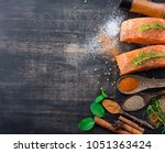 Raw Salmon Fish Fillet With...