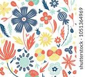 linocut style hand drawn meadow ... | Shutterstock .eps vector #1051364969