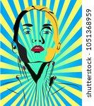 pop art woman touching her neck   Shutterstock .eps vector #1051368959
