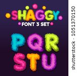 Shaggy font 3 set cartoon letters. Vector color illustration sign p, q, r, s, t, u