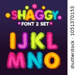 Shaggy font 3 set cartoon letters. Vector color illustration sign i, j, k, l, m, n, o