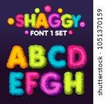 Shaggy font 1 set cartoon letters. Vector color illustration sign a, b, ?, d, e, f, g, h.