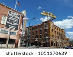 Small photo of Flagstaff, Arizona - March 25, 2017: The 1927 Hotel Monte Vista and the 1888 Babbitt Brothers store are landmarks in Flagstaff, Arizona's historic downtown district.