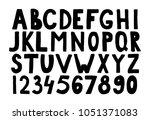 vector hand drawn bold font.... | Shutterstock .eps vector #1051371083
