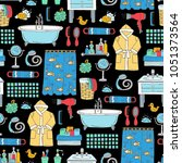 vector seamless pattern with... | Shutterstock .eps vector #1051373564