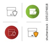 secure delivery icon. cargo... | Shutterstock .eps vector #1051374818