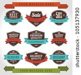 vintage labels and ribbon retro ... | Shutterstock .eps vector #105137930