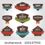 vintage labels and ribbon retro ... | Shutterstock .eps vector #105137933