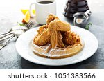 fried chicken and waffles ... | Shutterstock . vector #1051383566
