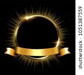 golden sparkling ring with rays ... | Shutterstock .eps vector #1051387559