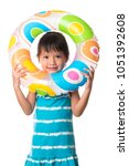 little girl with inflatable... | Shutterstock . vector #1051392608