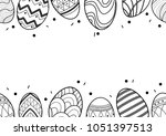 easter eggs in black outline... | Shutterstock .eps vector #1051397513