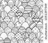 easter eggs in black outline... | Shutterstock .eps vector #1051397549