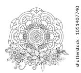 floral mandala pattern in black ... | Shutterstock .eps vector #1051407740