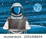 hooded hacker astronaut behind... | Shutterstock .eps vector #1051408694