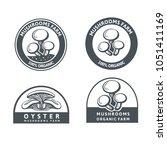 set of monochrome mushrooms...   Shutterstock .eps vector #1051411169