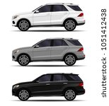 realistic suv cars set. side... | Shutterstock .eps vector #1051412438