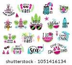 summer badge set. happy season... | Shutterstock .eps vector #1051416134