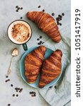 french croissant roll with... | Shutterstock . vector #1051417919