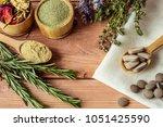 healing herbs and herbal... | Shutterstock . vector #1051425590