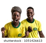 young brazilian friends fan... | Shutterstock . vector #1051426613