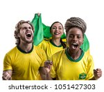 Stock photo brazilian friends fan celebrating 1051427303