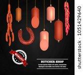 butcher shop realistic... | Shutterstock .eps vector #1051429640