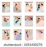 couple sleeping poses set with... | Shutterstock .eps vector #1051430270