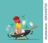 funny breakfast characters.... | Shutterstock .eps vector #1051433723
