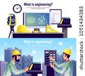 engineering horizontal banners... | Shutterstock .eps vector #1051434383