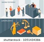 isometric horizontal banners... | Shutterstock .eps vector #1051434386