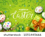 vector card with realistic 3d... | Shutterstock .eps vector #1051445666