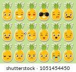 vector set of cute kawaii... | Shutterstock .eps vector #1051454450